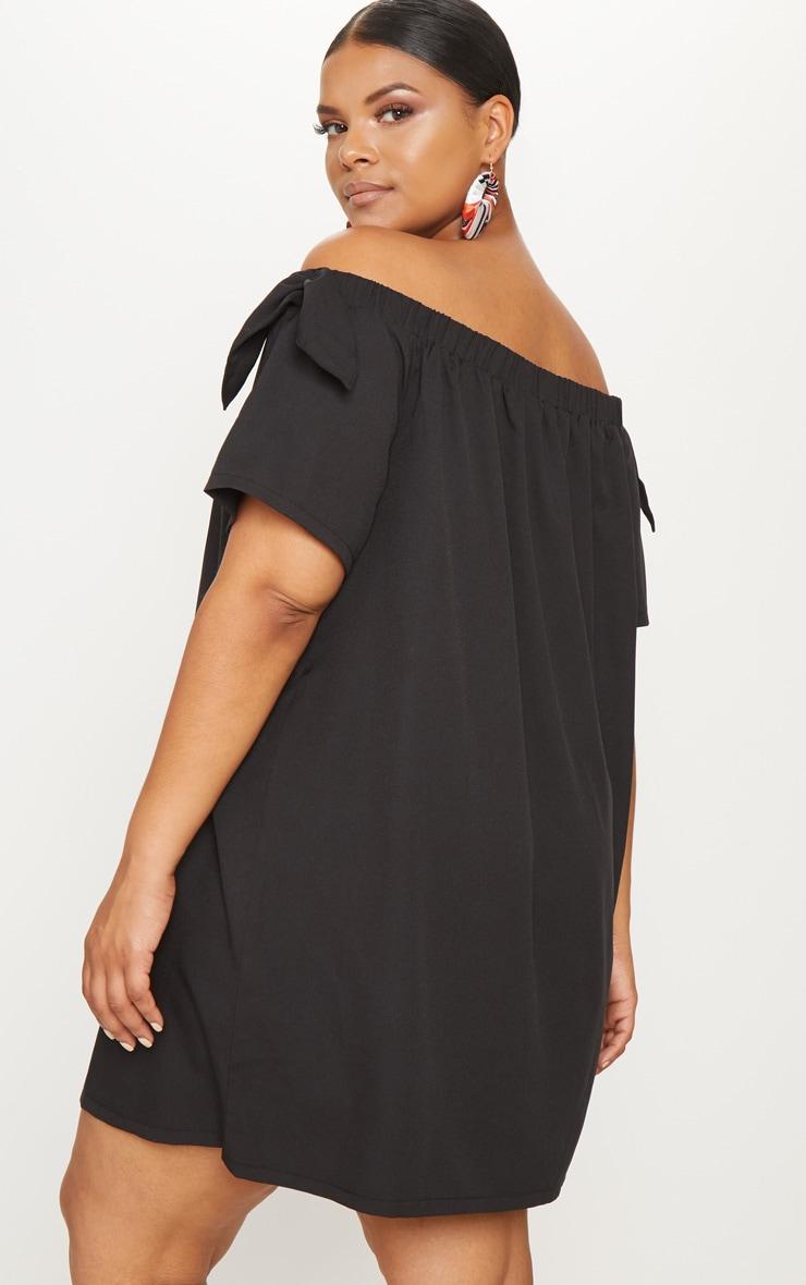 Plus Black Crepe Bardot Swing Dress 2