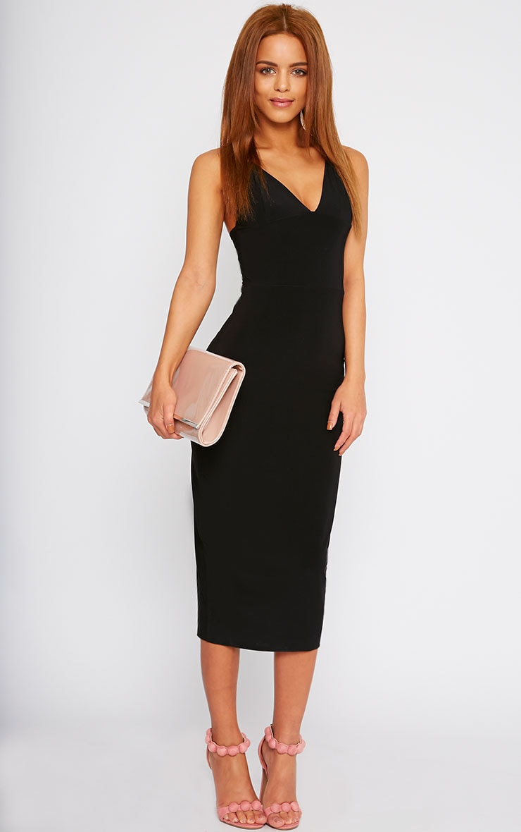 Deanna Black Slinky Cross Back Midi Dress 1