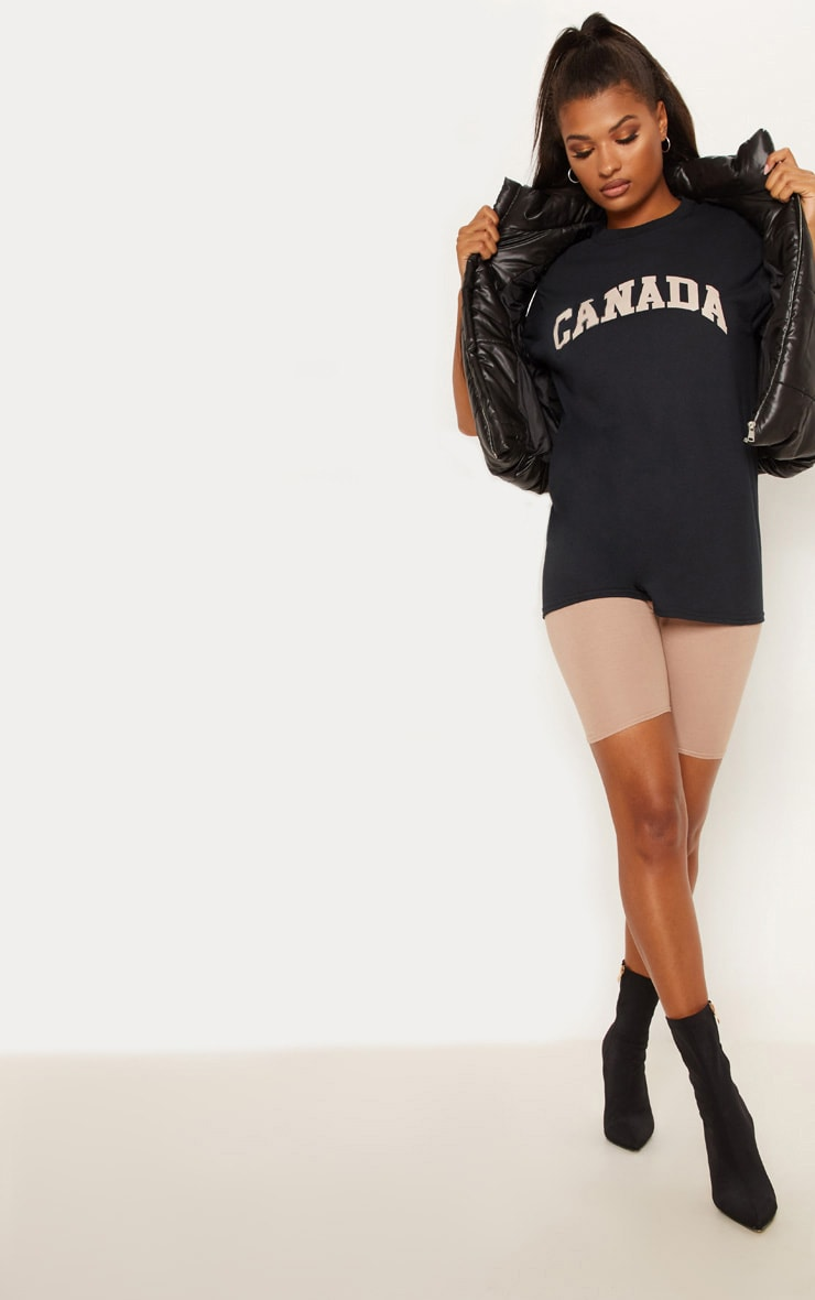 Black Canada Slogan Oversized T shirt 1
