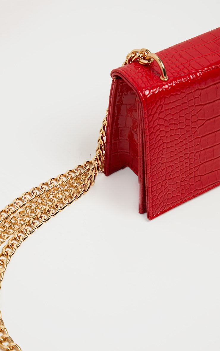 Red Patent Croc Flap Square Cross Body Bag 3