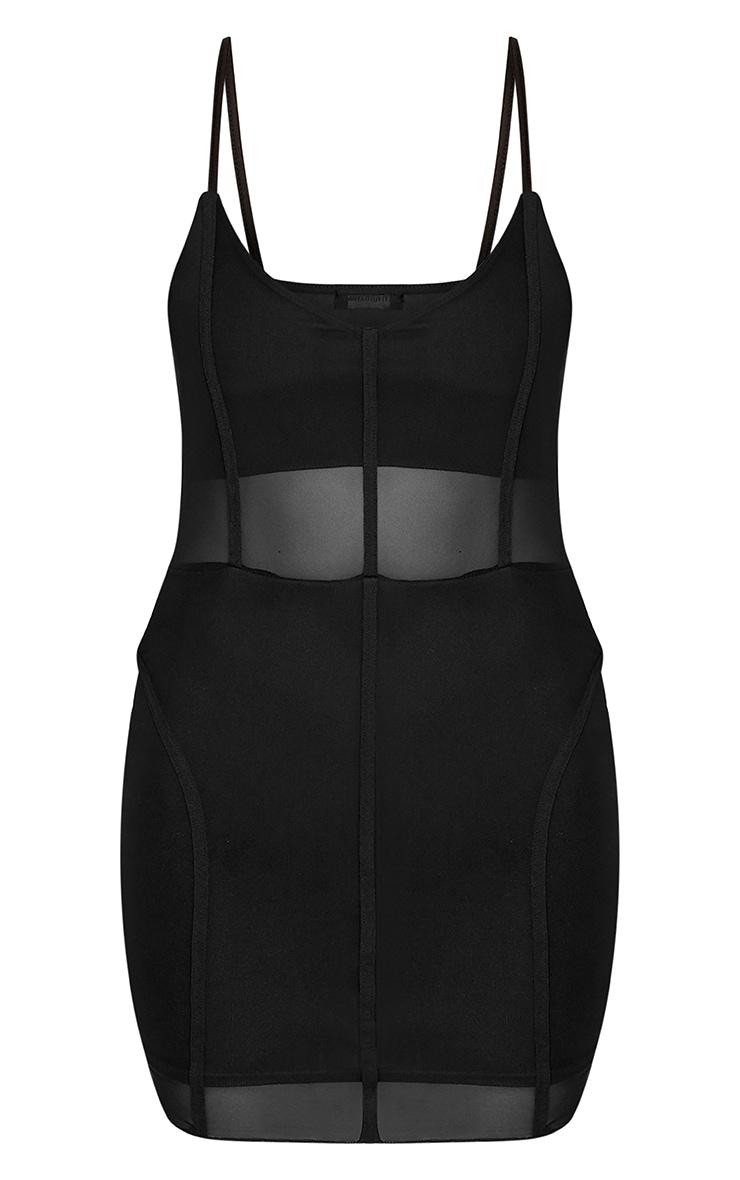 Fayola Black Mesh Panelled Bodycon Dress  3