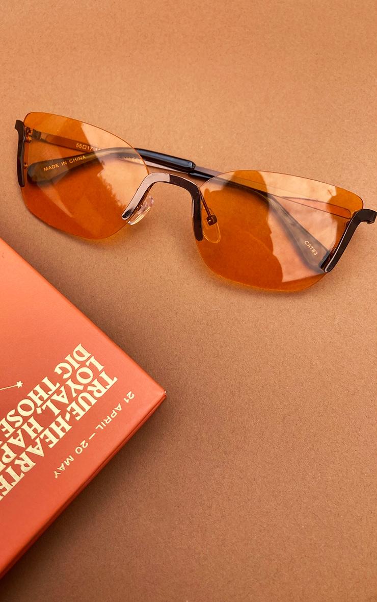 Orange Lens Framless Cat Eye Sunglasses 2