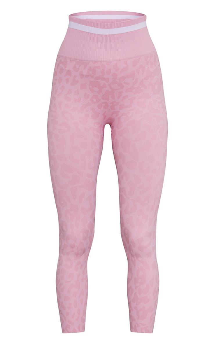 Pink Seamless Leopard Stripe Detail Gym Leggings 5