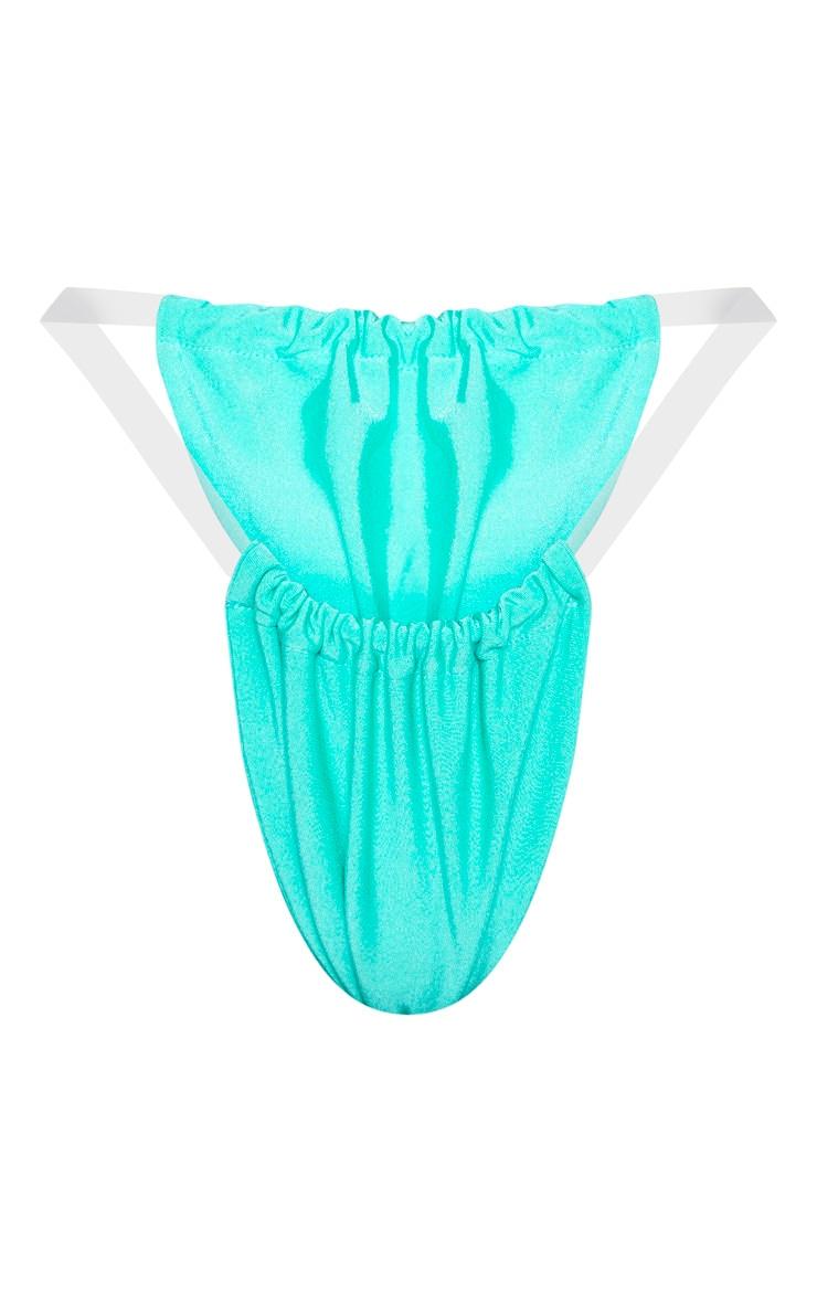 Turquoise Clear Strap Bikini Bottom 6