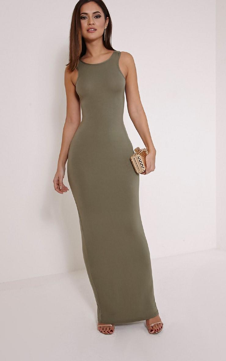 Jamaia Khaki Lace Up Back Maxi Dress 3