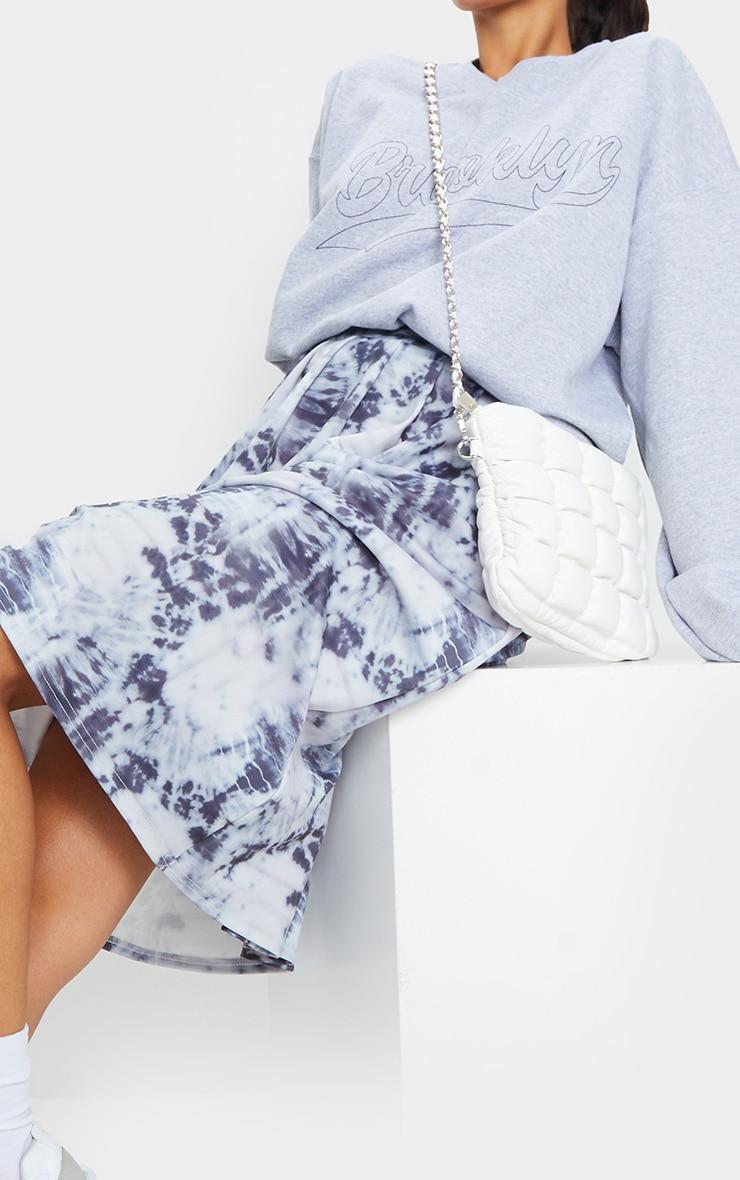Blue Tie Dye Print Pleated Midi Skirt 4