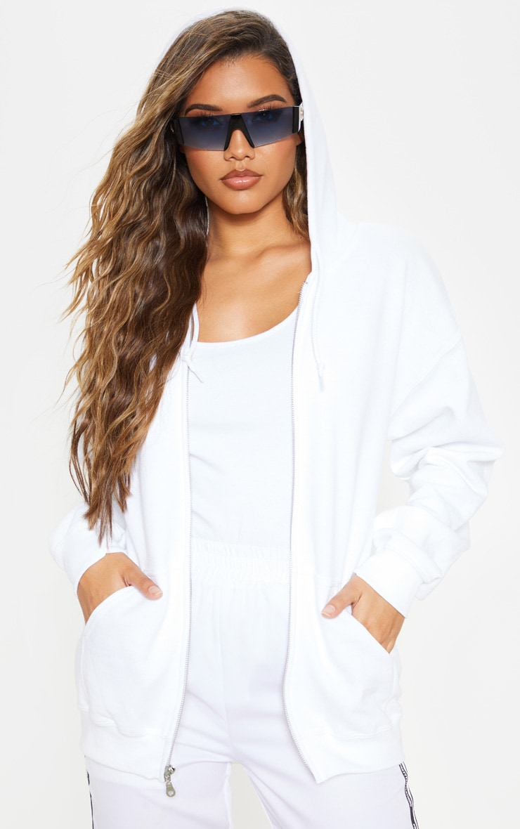 White Fleece Zip Up Hoodie 4