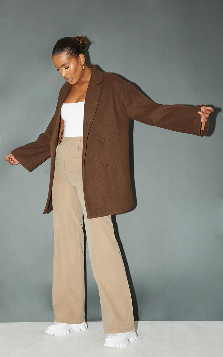 Chocolate Wool Look Oversized Grandad Blazer 1