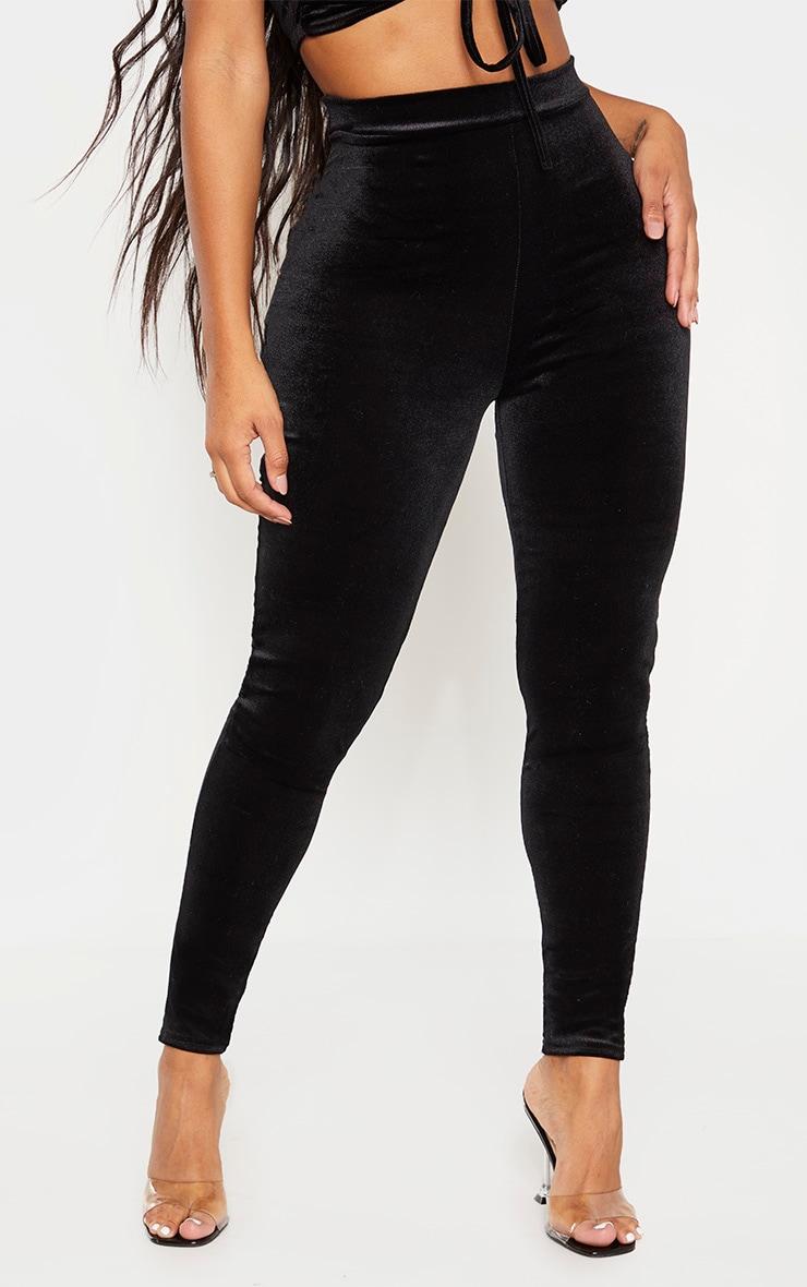 Shape Black Velvet High Waisted Pants 2
