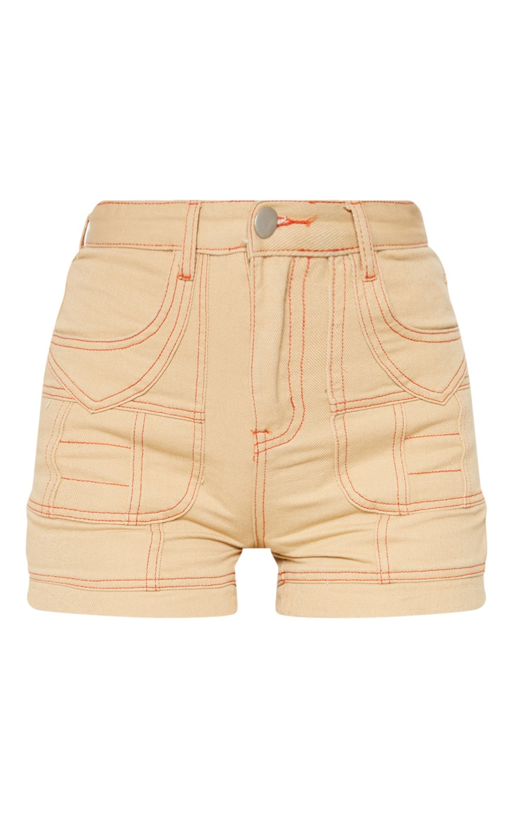 Sand Neon Orange Utility Stitched Detail Denim Shorts 3