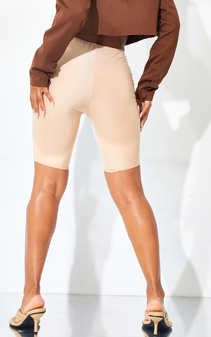 Cream Slinky Ruched Waist Cycle Shorts 3