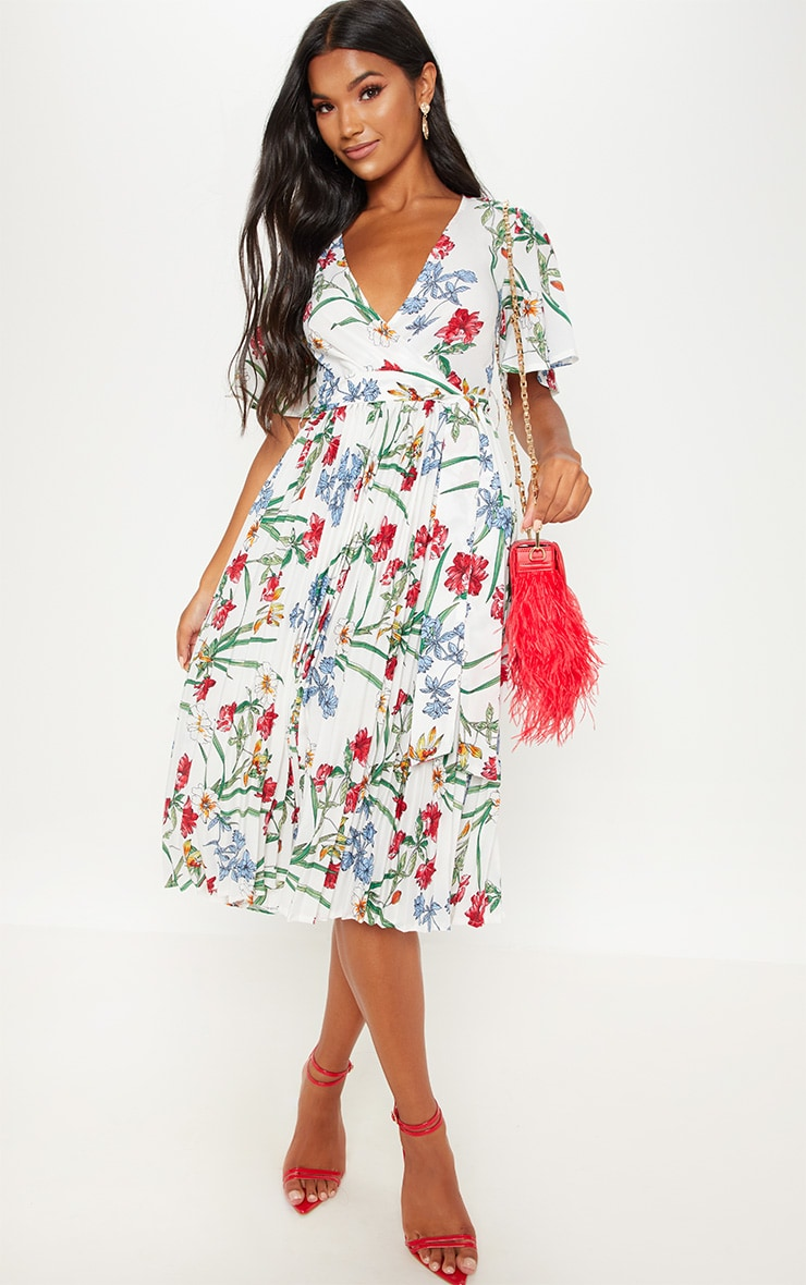 White Floral Pleated Midi Dress 4