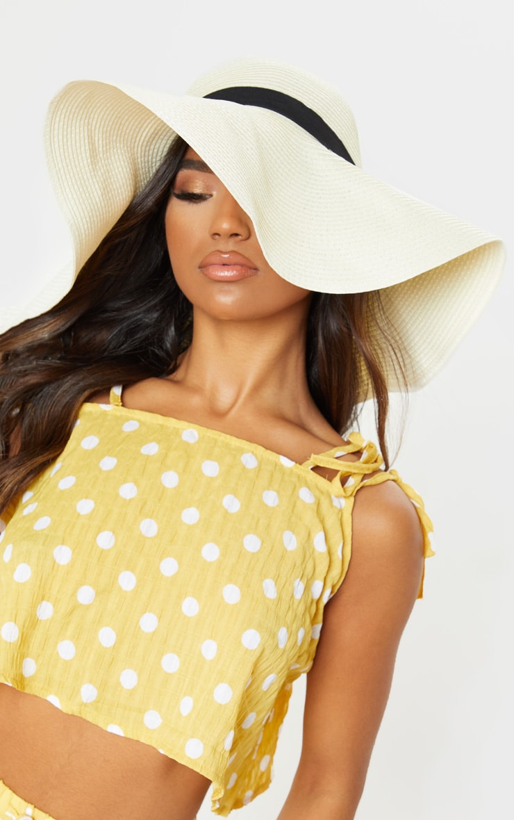 Cream Floppy Sun Hat 1