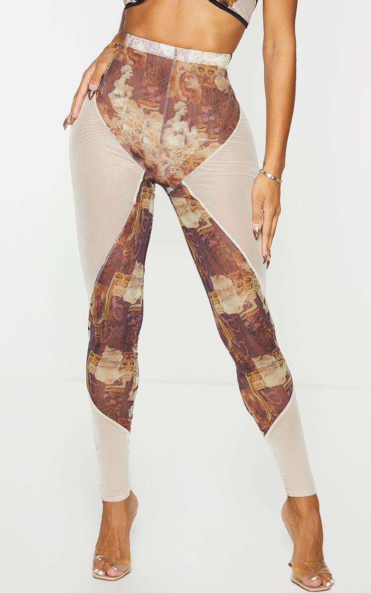 Shape Nude Renaissance Print Mesh Panel Detail Leggings 2