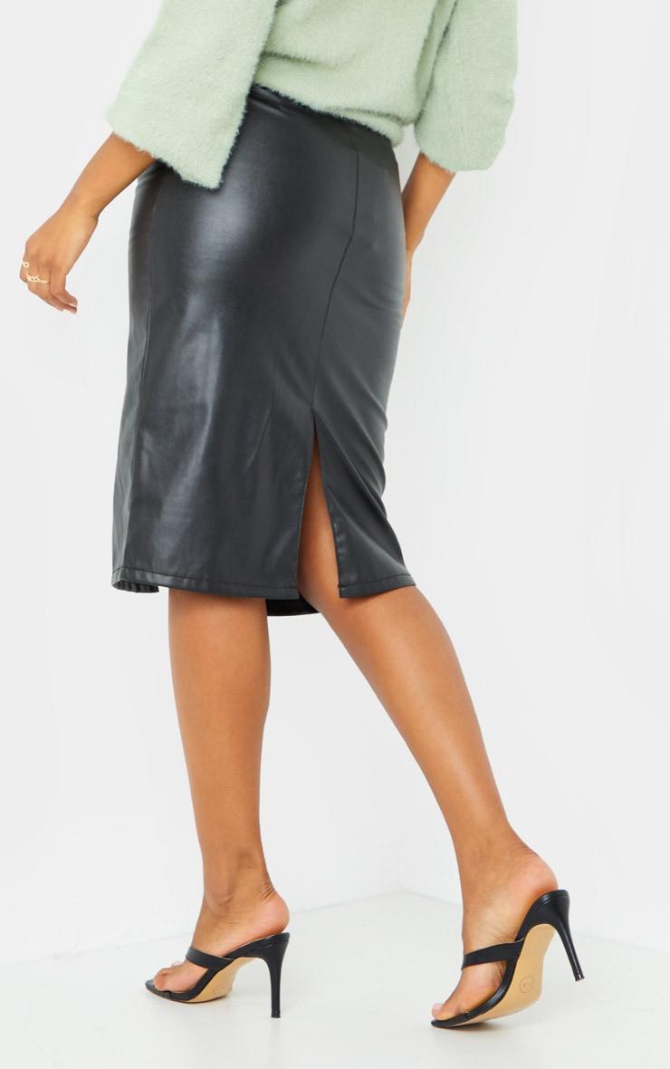 Black Faux Leather Split Hem Midi Skirt 3