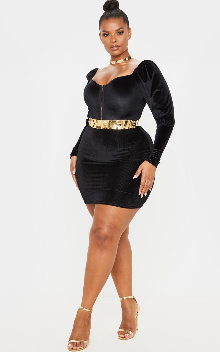 Plus Black Velvet Stripe Mini Skirt 5