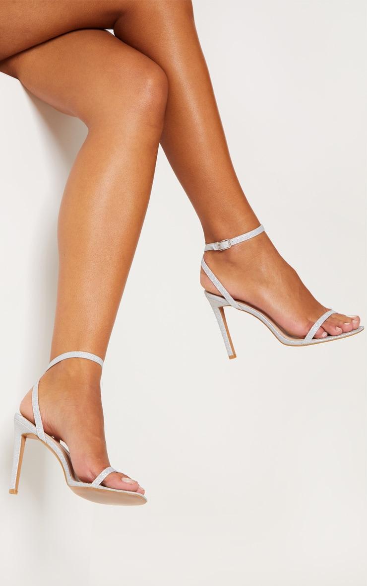 Silver Glitter Single Strap Sandal