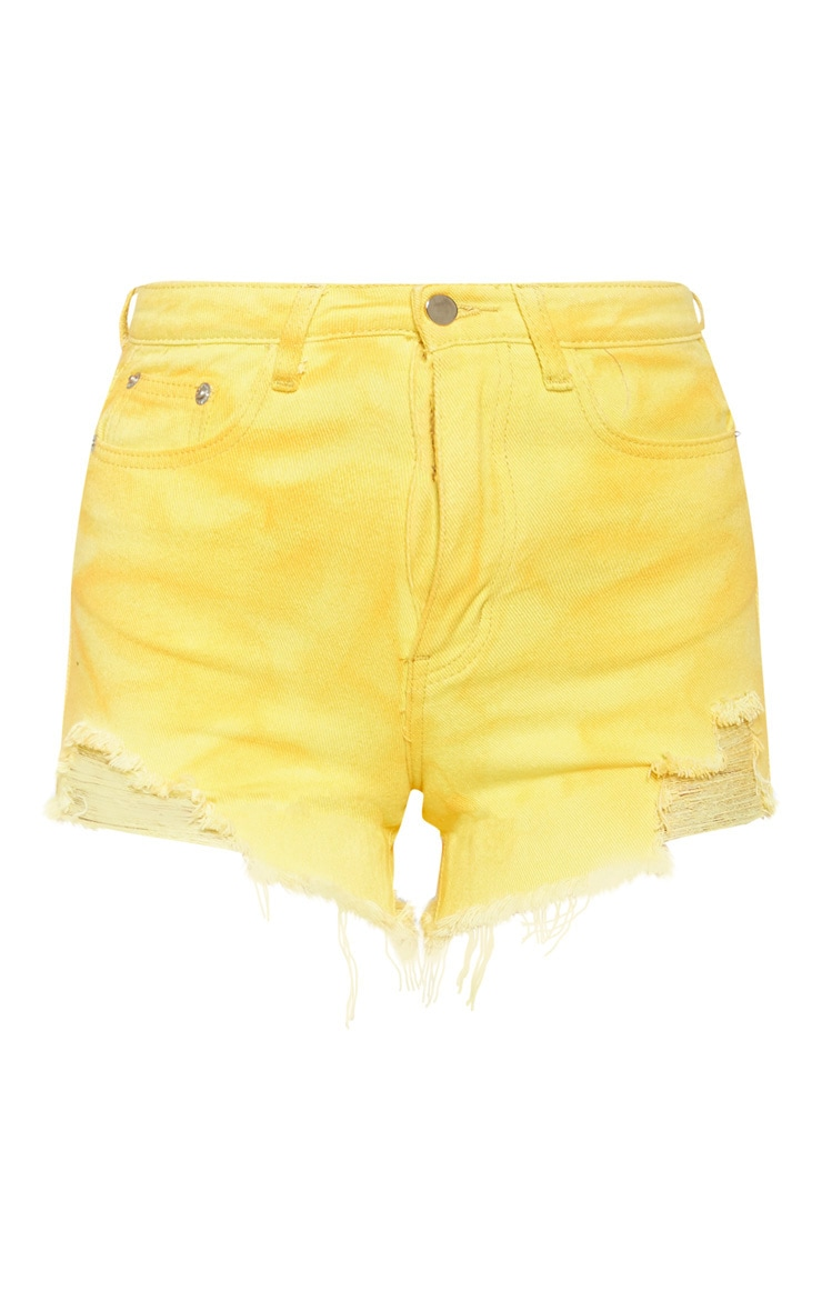 Washed Yellow Distressed Denim Mom Shorts   3