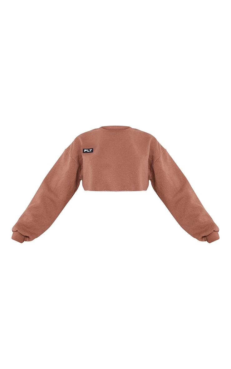PRETTYLITTLETHING Mocha Washed Badge Detail Cropped Raw Hem Oversized Sweater 5