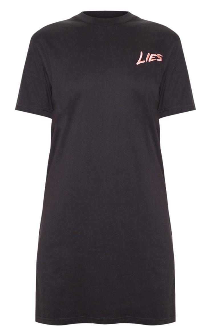 Black Lies Slogan Embroidered Oversized T Shirt Dress  3