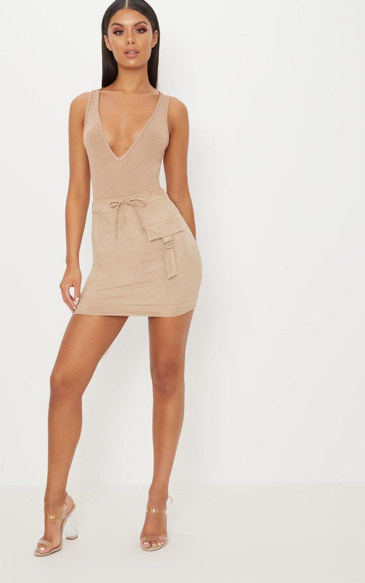 Basic Nude Jersey Plunge Neck Thong Bodysuit  5