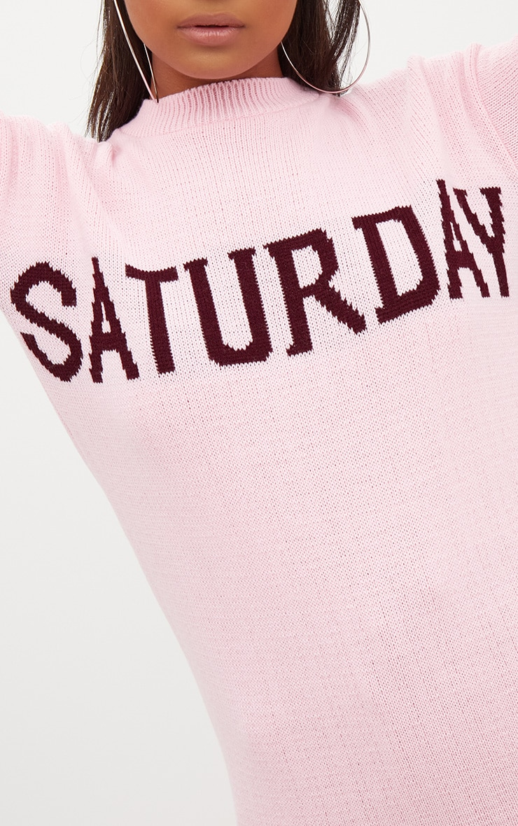 Pink Saturday Slogan Jumper 5