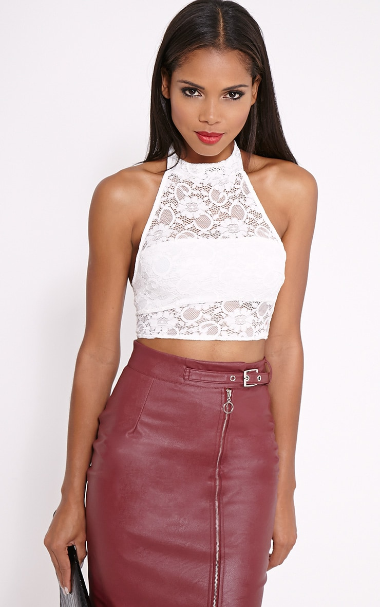 Liana Cream Lace Halterneck Crop Top 1