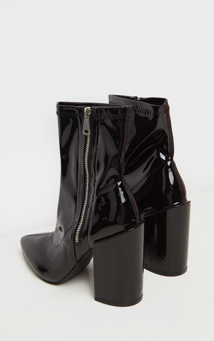 Black Chunky Heel Side Zip Sock Boot 4