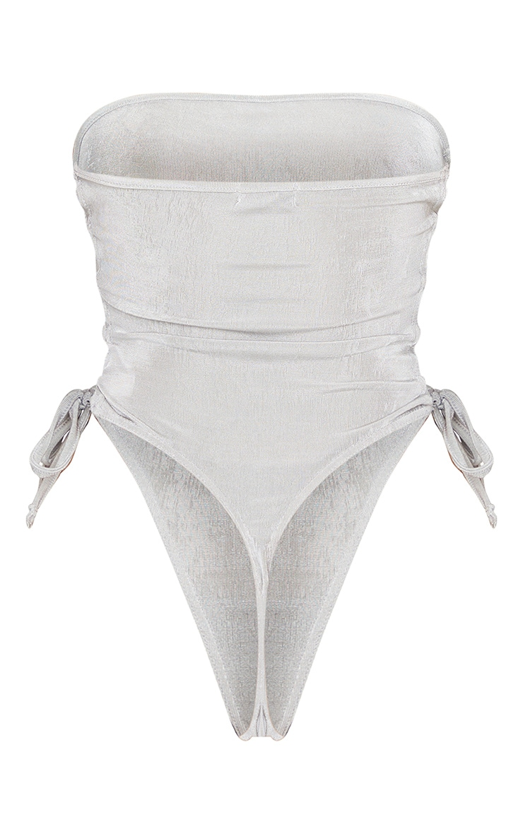Light Grey Acetate Slinky Bandeau Lace Up Detail Bodysuit 6