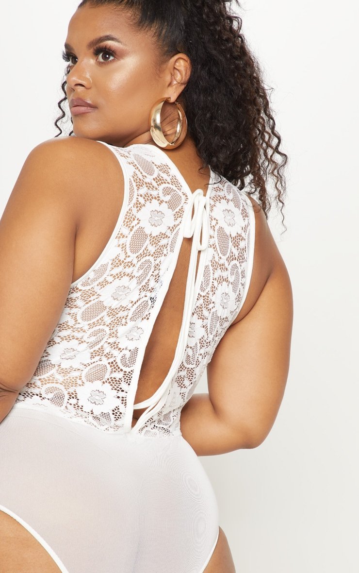Plus White Lace Tie Back Mesh Bodysuit 6