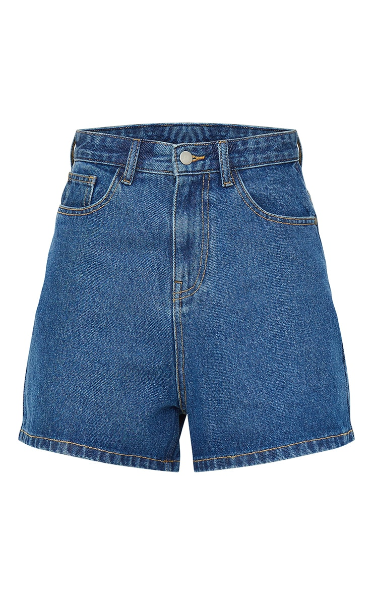 Mid Blue Wash Mom Shorts 6