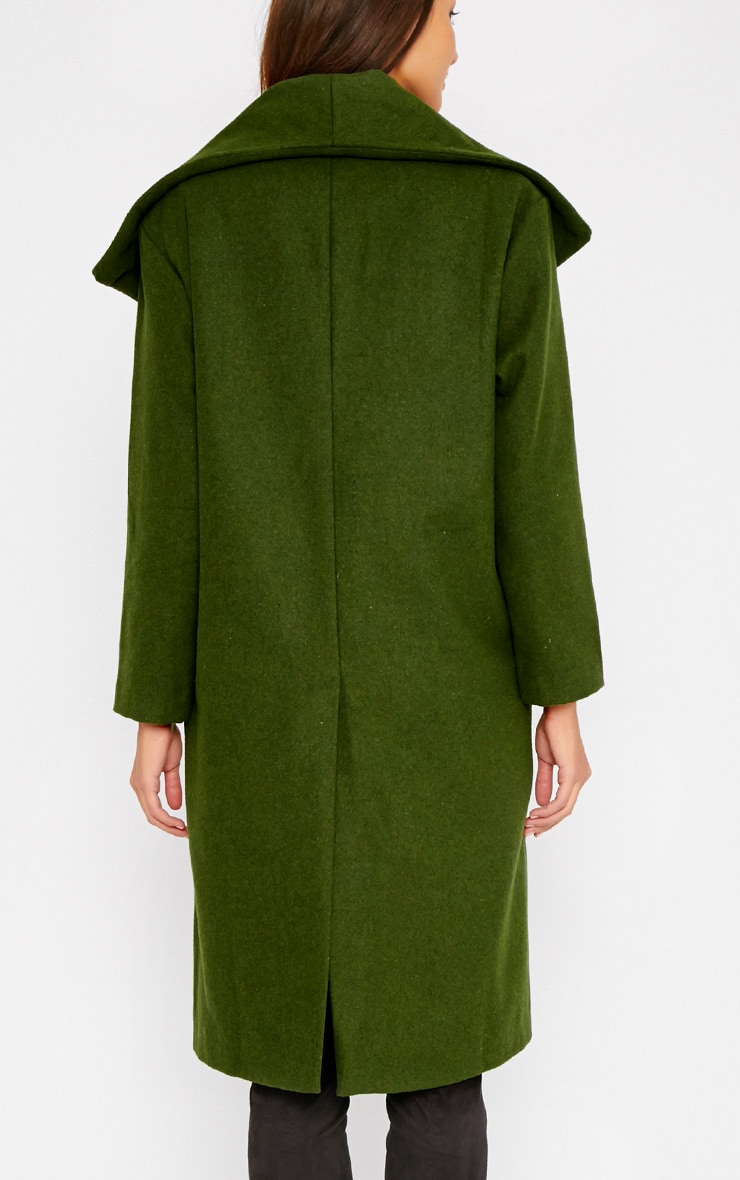 Gaia Green Brushed Wool Premium Waterfall Coat 2