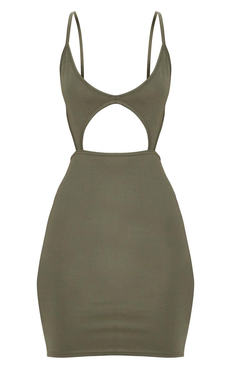 Khaki Strappy Plunge Cut Out Detail Bodycon Dress 3