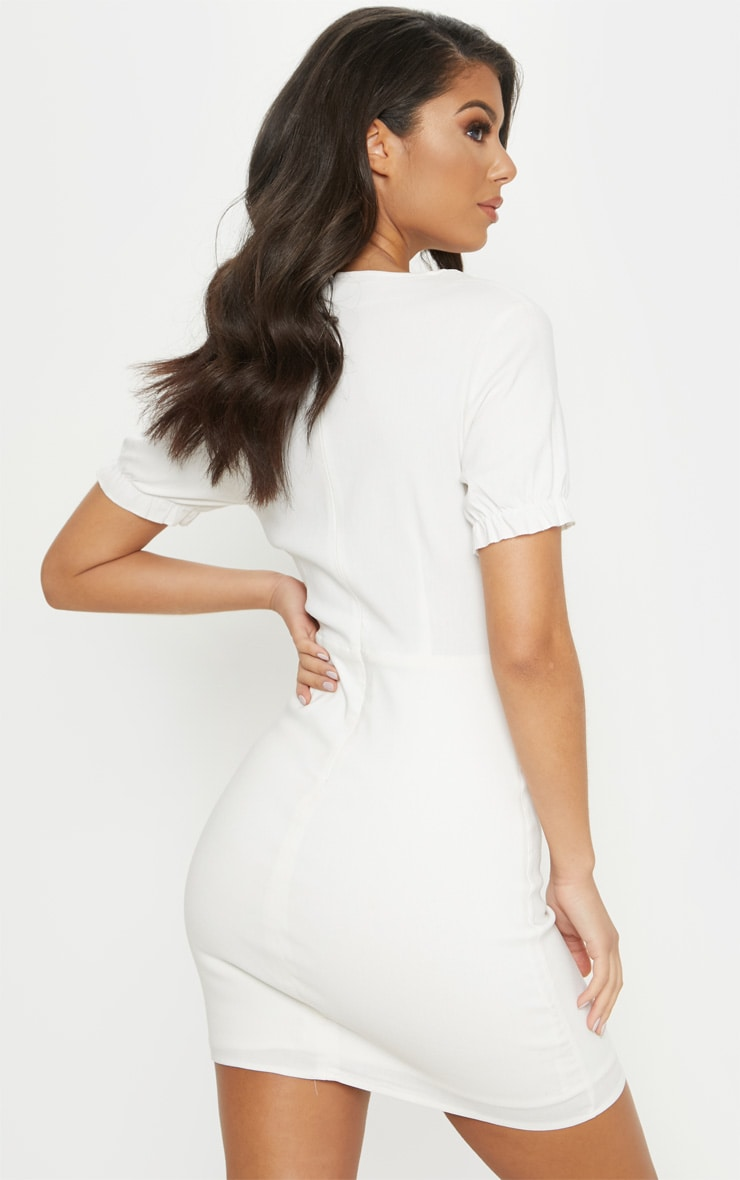 White Lace Up Frill Detail Bodycon Dress 2
