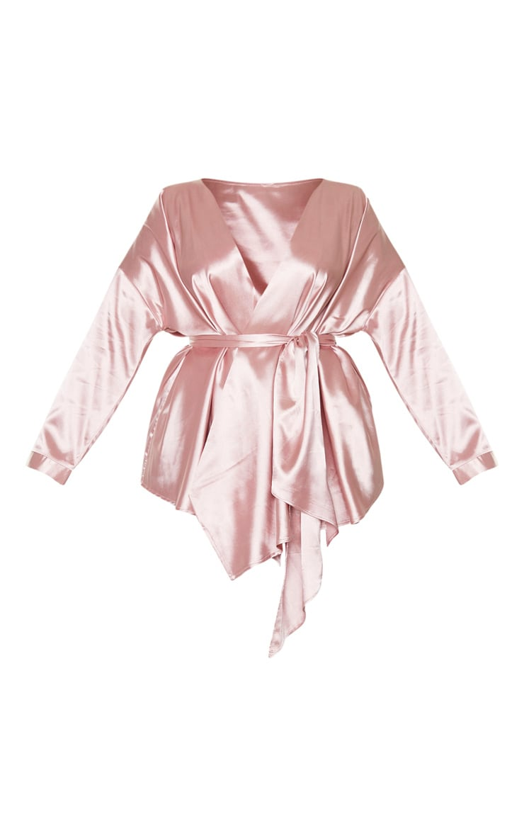 Plus Blush Satin Tie Waist Blouse 3