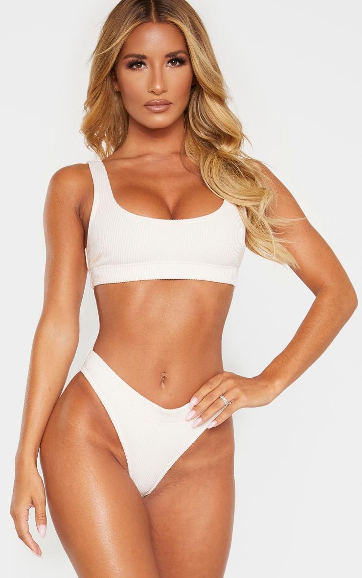 Nude Ribbed Elasticated Scoop Bikini Top 1
