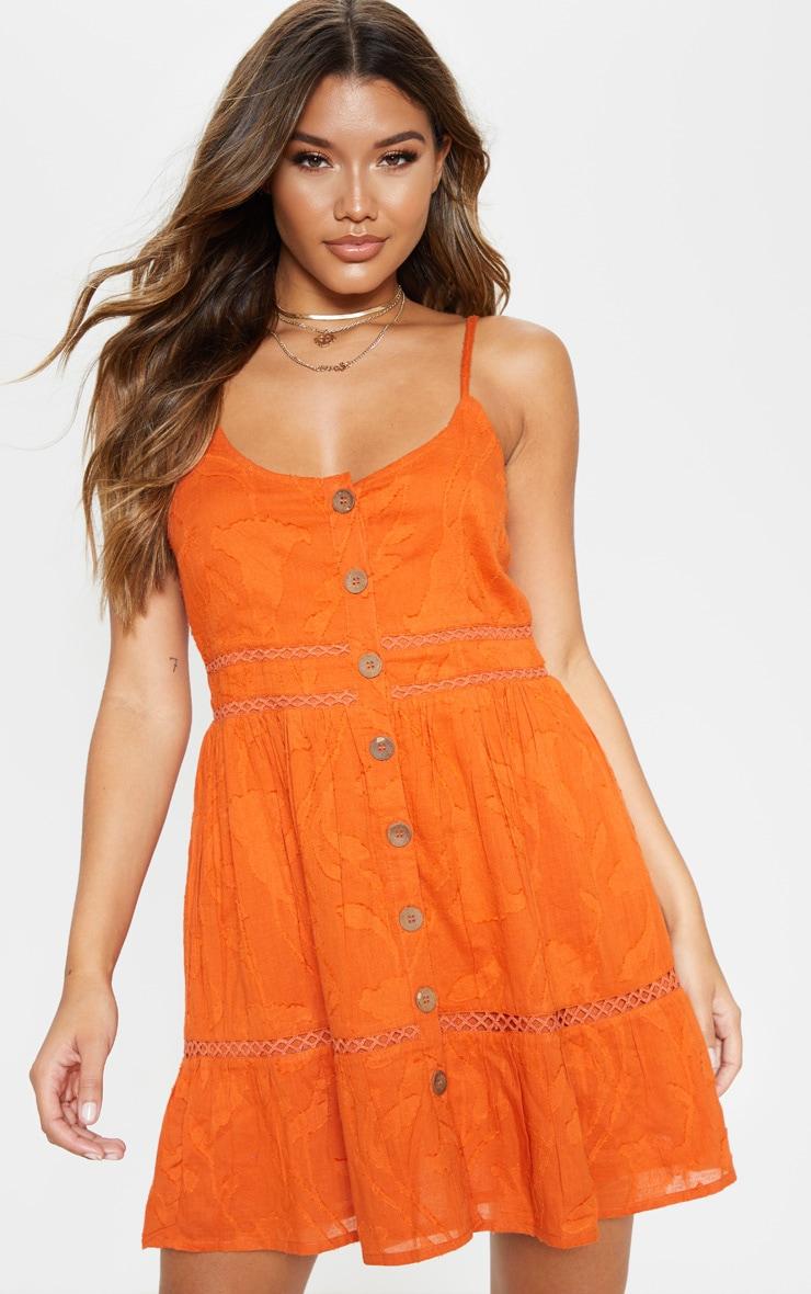 Rust Wooden Button Front Cami Dress 1