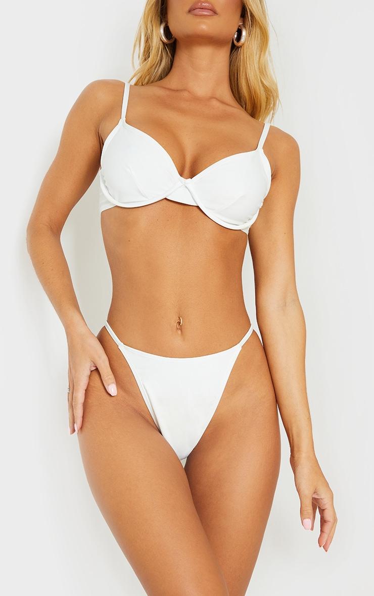White Mix & Match Recycled Fabric Itsy Bitsy Bikini Bottoms 1