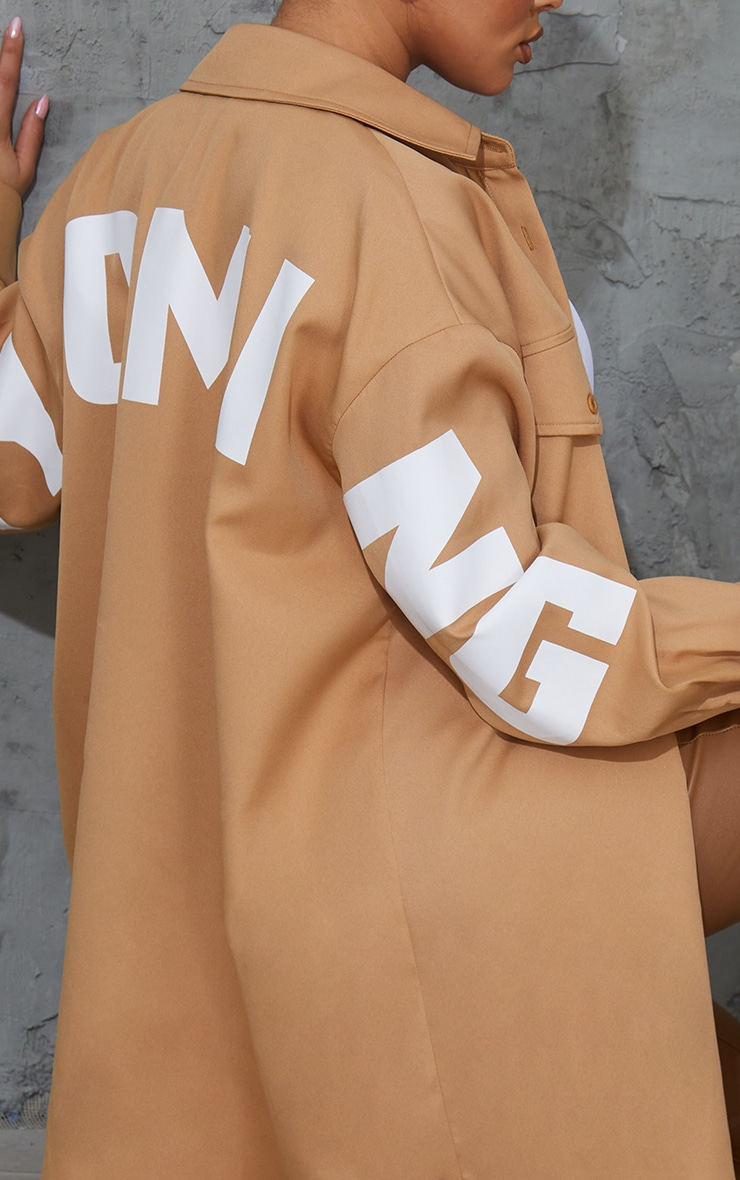 Sand Wyoming Slogan Oversized Shirt 4
