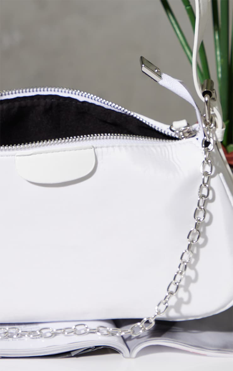 White Nylon Silver Chain Shoulder Bag 3