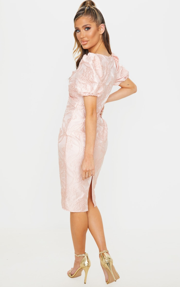 Dusty Pink Puff Sleeve Twist Front Jacquard Midi Dress 2