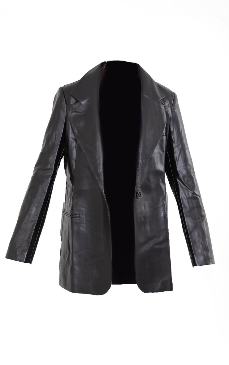 Tall Black Faux Leather Blazer 5