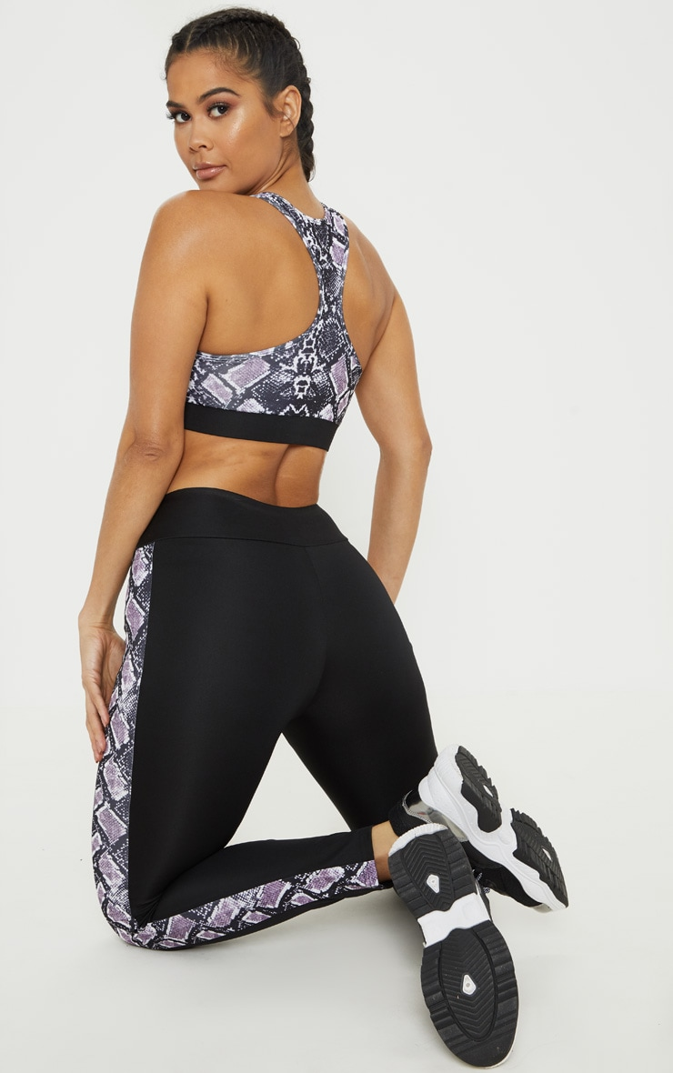 Aubergine Snake Cut Out Bust Contrast Gym Top  2