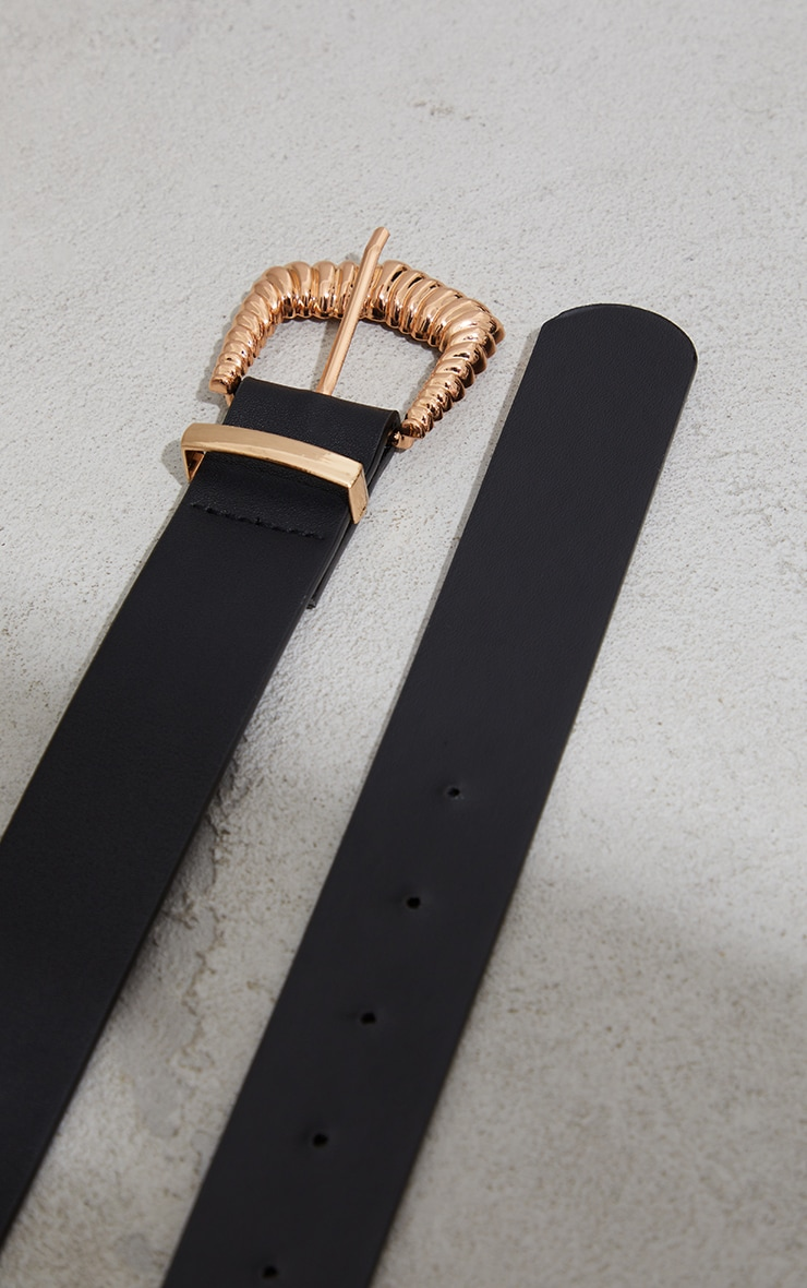 Black Ribbed Square Buckle Waist Belt 3