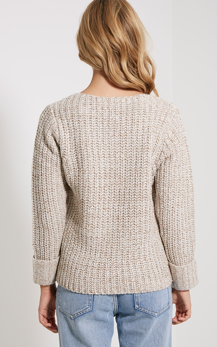 Eda Stone Chunky Knitted Jumper 2