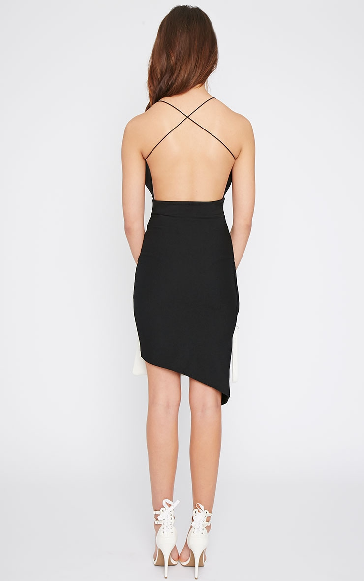Raye Black Cross Back Asymmetric Dress  2
