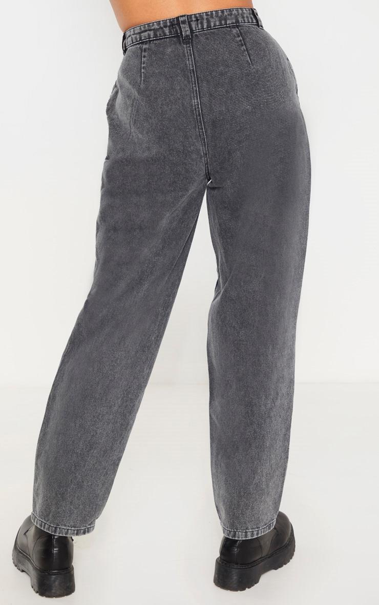 Washed Grey Baggy Cargo Boyfriend Jeans  4