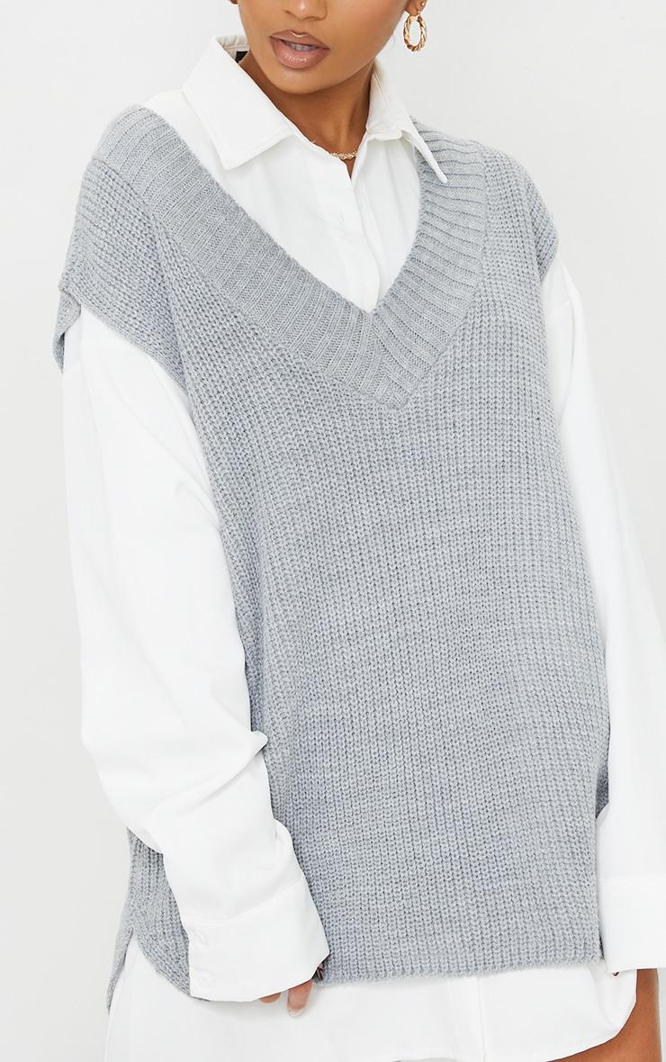 Grey V Neck Knitted Side Split Vest 4
