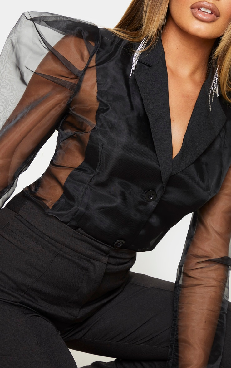Black Sheer Puff Sleeve Fitted Shirt 3