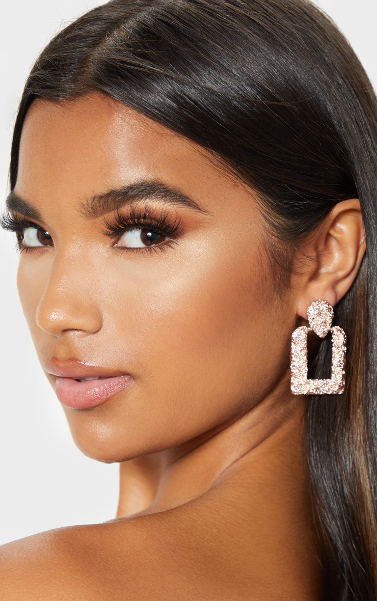 Rosegold Texured Square Chunky Door Knocker Earrings